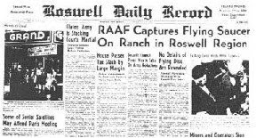 RAAF Captures Flying Saucer On Ranch in Roswell Region (Sml) - Roswell Daily Record 7-8-09