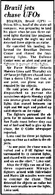Brazil Jets Chase UFOs - Valley Independent 5-23-1986