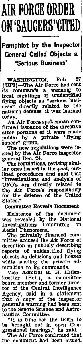 Air Force On Saucers Cited - New York Times - 2-28-1960 (A)