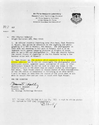 FTD Letter Re UFO OVer Roswell March 1964 (Emphasis Metallic Oblate Spheroid)
