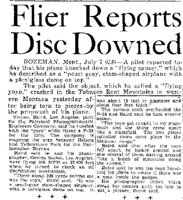 Flier Reports Disc Downed - Amarillo Daily News 7-8-1947