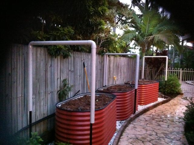This One From JK In Queensland Using PVC Tubing Over Raised Tank Beds With  50% White Shade Cloth Over Green Leafy Veg The Tubing Is Fitted Over Star  Pickets ...