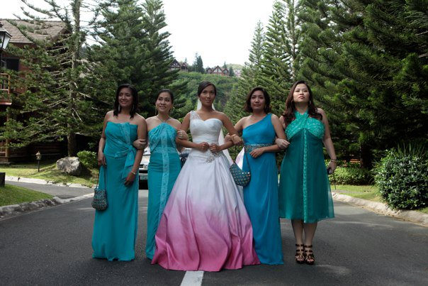 The wedding enthusiast promises made in pink here she is strutting her gwen stefani inspired wedding gown with her bridal posse junglespirit Images