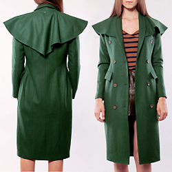 Green Shawl Collar Trench Coat