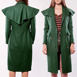 Green Shawl Collar Trench Coat