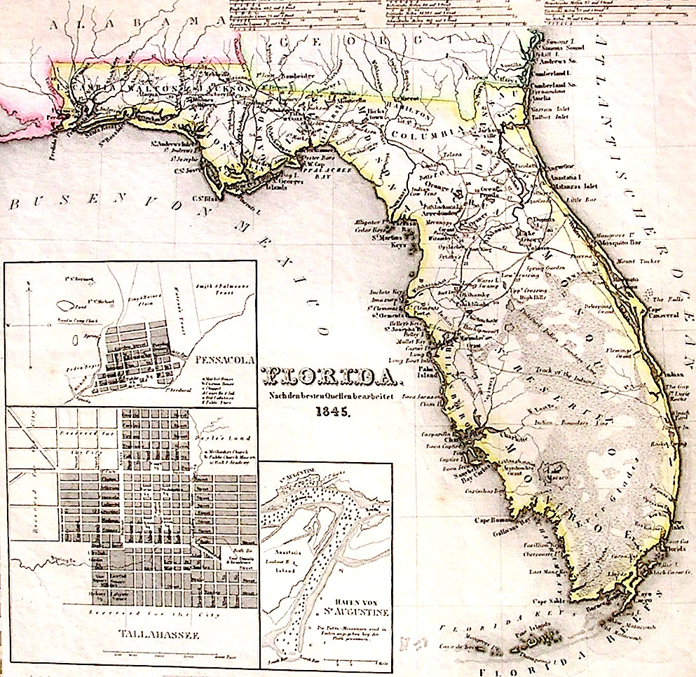 Lighthouse Books ABAA 1845 Florida Map Spanish Land Grants