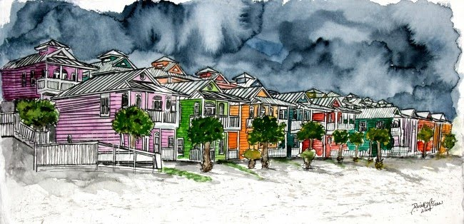 Watercolor paintings art by derek mccrea august 2009 for Beach house drawing