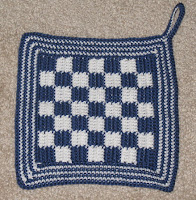 checked potholder
