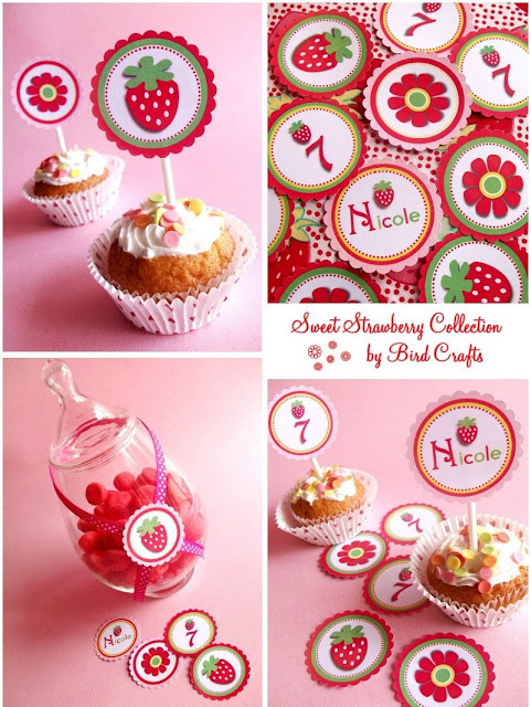 strawberry printables from bird crafts   strawberry shortcake theme party  kid's birthday parties  bridal showers baby showers http://www.frostedevents.com