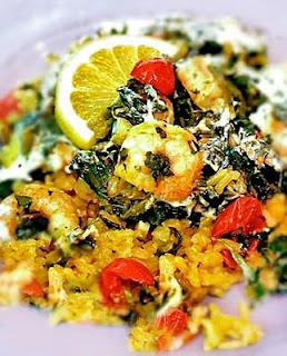 Garlicky Shrimp and Spinach Rice Bake | Gluten-Free Goddess Recipes