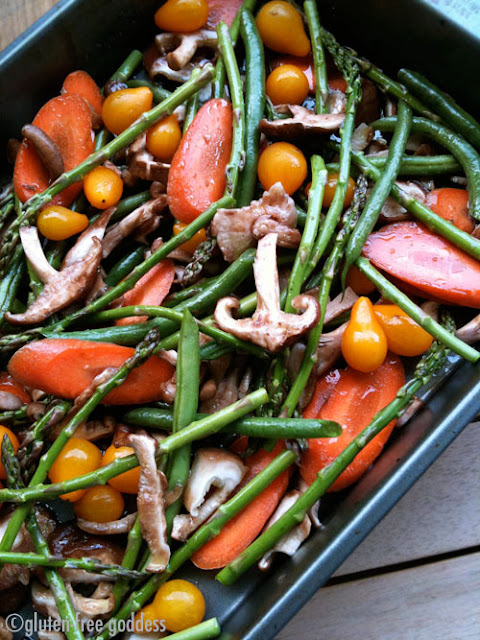 A pan of fresh vegetables ready for roasting