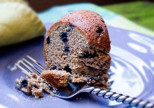 delicious gluten free vegan banana bluberry muffin cake