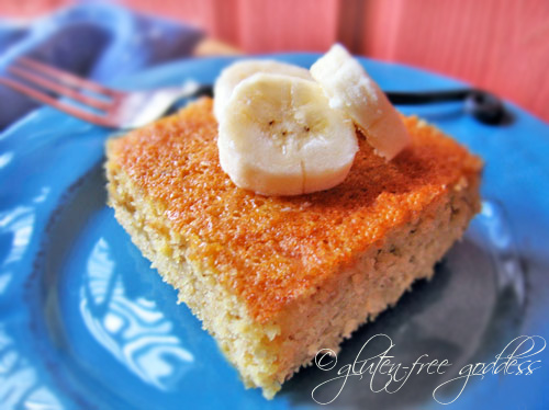 Gluten free polenta cake with bananas