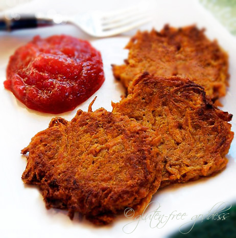 Sweet potato latkes and ruby applesauce.