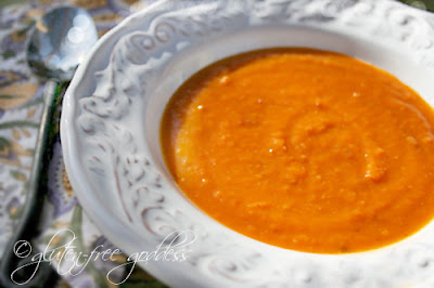 Karina's gluten free sweet potato soup is vegan and dairy-free.