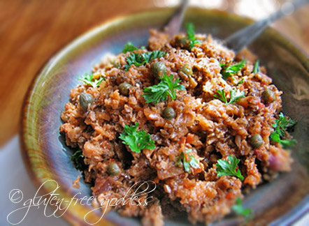 A bowl of gluten free eggplant tapenade spread