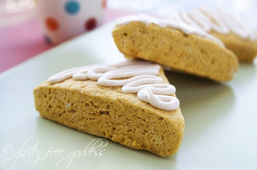 Gluten-free pumpkin scones with maple icing are tender and delicious with tea