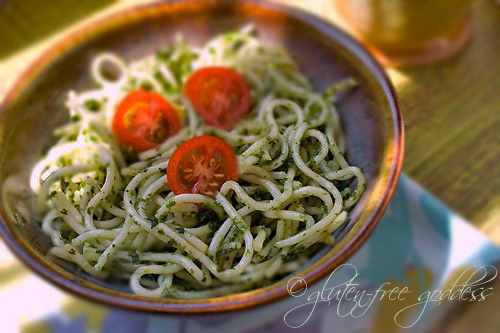 Gluten free pasta tossed with vegan pesto sauce