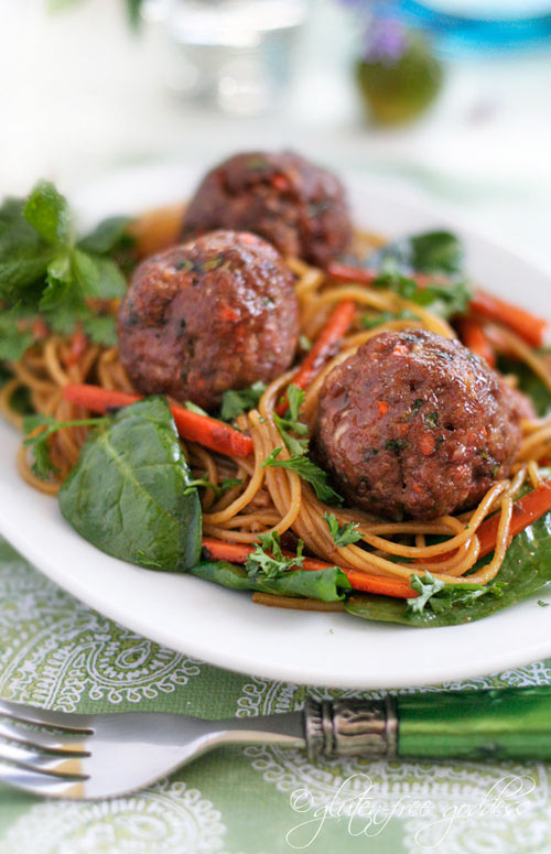 Gluten free turkey meatballs with Asian noodles