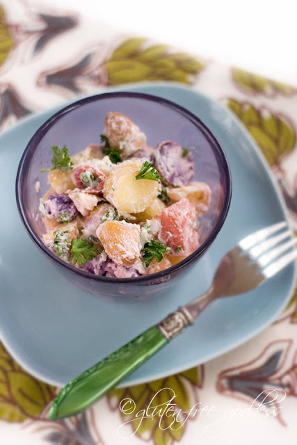 Vegan potato salad recipe made with tiny heirloom pink, purple and yellow potatoes and vegan mayo