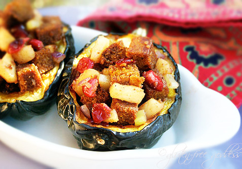 Stuffed acorn squash with gluten free cornbread stuffing- vegan