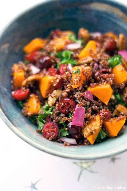 Red quinoa recipe with butternut squash and cranberries
