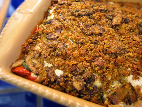 Gluten free kugel recipe with savory roasted vegetables and gluten free bread crumb topping