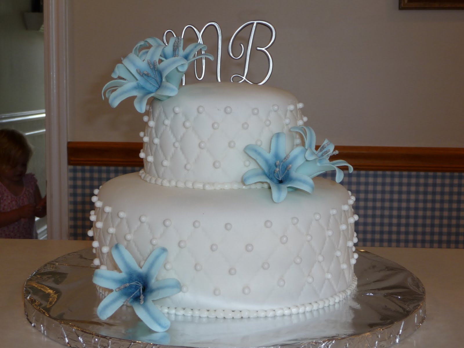 Imagine That Blue lily wedding cake