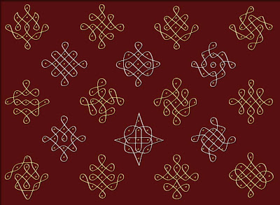Here's a combo of simple sikku kolams with dot pattern 1 -5 parallel