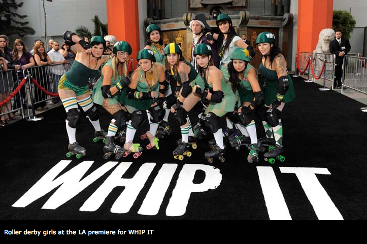 a photo of roller derby girls in fishnets and socks
