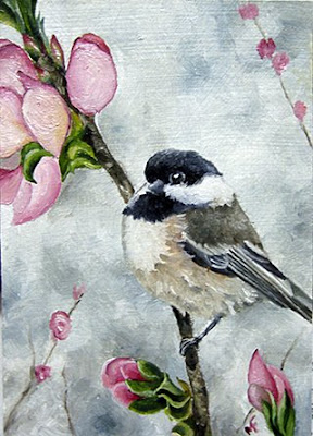 oil chickadee cherry painting