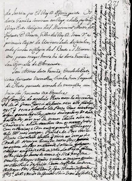 Manuscrito sobre a origem da família Pinto