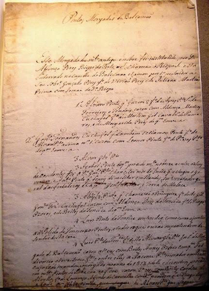 """Manuscrito """"Pintos morgados de Balsemão"""""""
