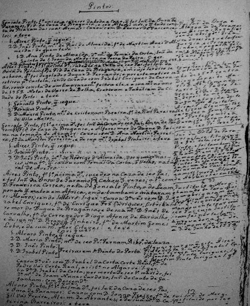 Genealogia manuscrita dos Pintos de Paramos
