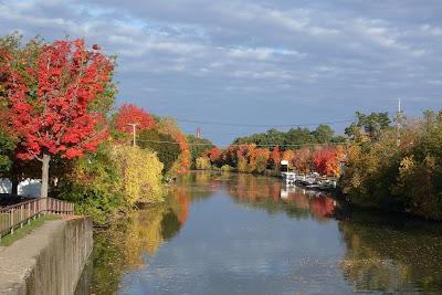 fall foliage near lift-bridge, Erie Canal at Fairport NY (c)2008 jcb
