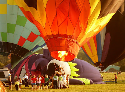 fire it up - hot air balloons warm up at Dansville Balloon Fest Sept 09