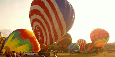 hot air balloons warm up at Dansville Balloon Fest Sept 09