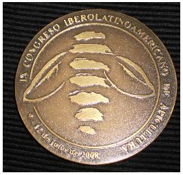 Frente Medalla del IX Congreso Iberoamericano de Apicultura 2008