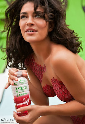 Jessica Szohr Naked In Only Bodypaint For SoBe Ad Campaign