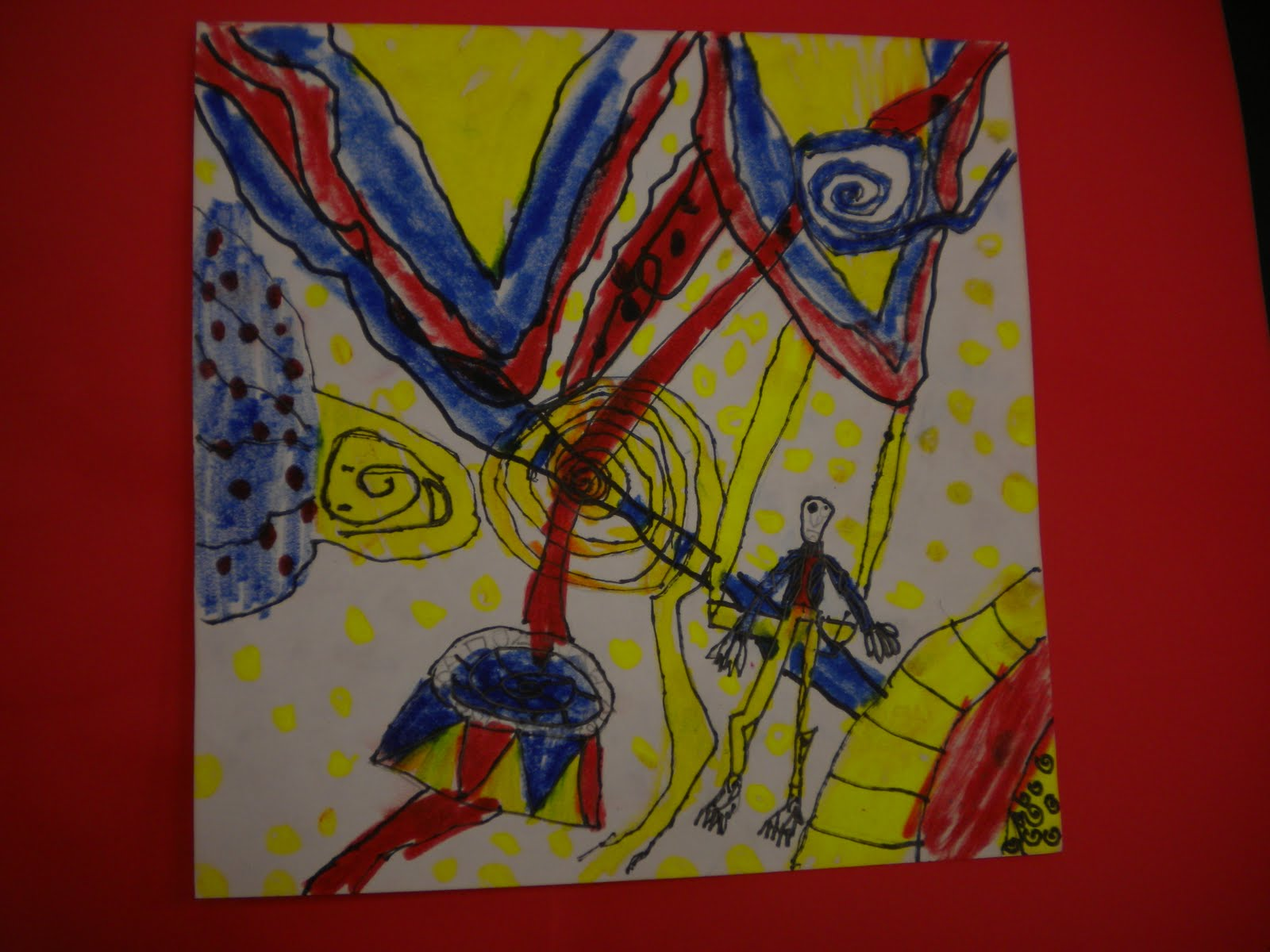 Simple Cartoon Drawing Style And His Limited Color Palette So They Took Off With Black Marker Creating Abstract Circus Drawings Primary Colors