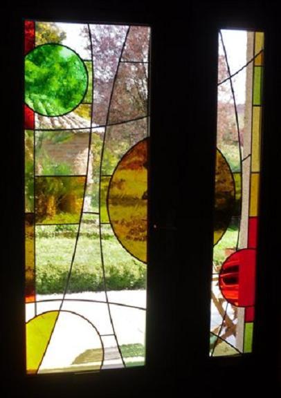 Atelier verrier de clermont vitrail verre fusionn stages vitrail porte d 39 entr e - Porte d entree avec vitrail ...