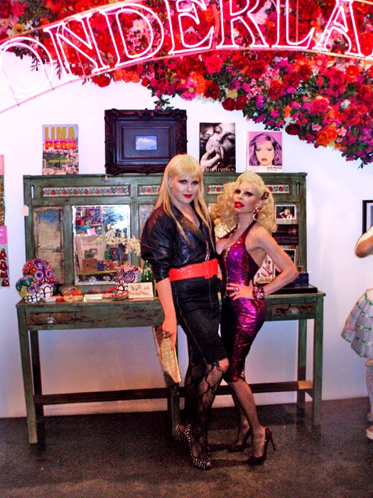 Amanda Lepore and Darian Darling pose at Wonderland Beauty Parlor, NYC