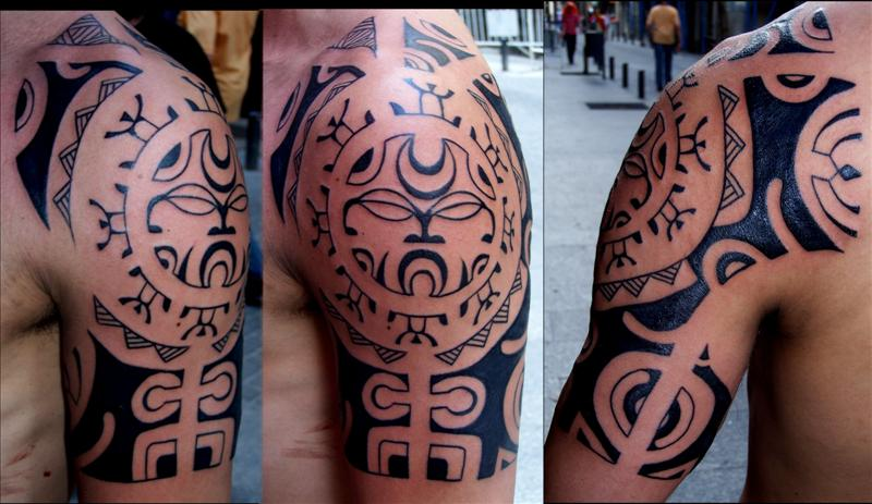 Polynesian style tribal chest tattoo tattoo polinesia