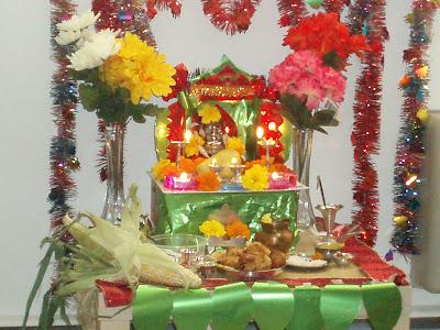 Ethnic indian decor ganesh chaturthi at my home for Decorations for ganesh chaturthi at home