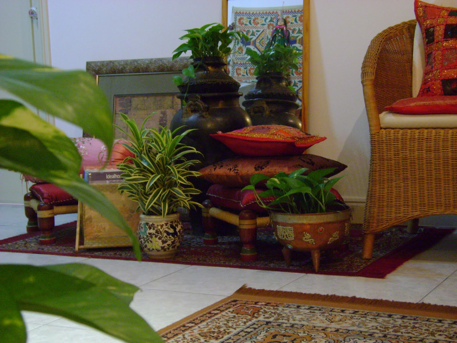 Ethnic indian decor an ethnic indian home in singapore for Using plants in home decor