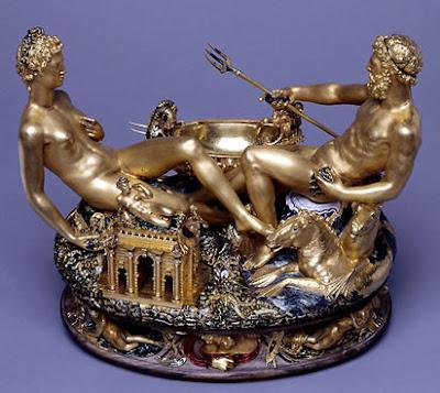 Salt Cellar of Francis I, (gold, ebony and enamel) by Cellini