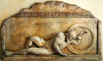 soldato greco morente - bassorilievo