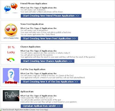 membuat sendiri aplikasi facebook, dengan Application Builder
