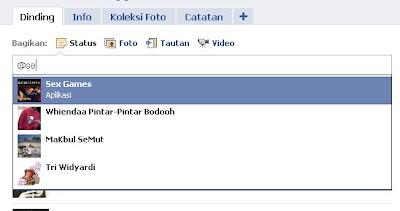 Tag nama teman di status facebook
