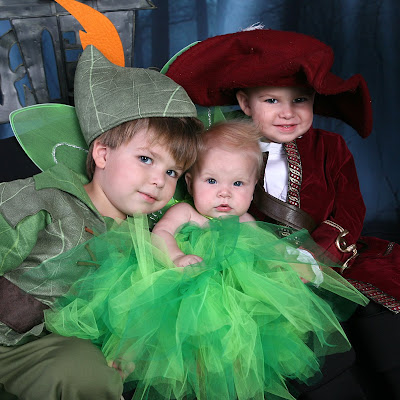 image showing picture of peter pan, captain hook and tinkerbell halloween costumes